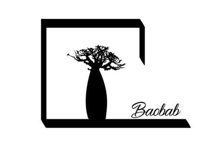 Boab or Baobab Tree Vector isolated, Andasonia tree silhouette logo icon. Baobabs silhouette concept sign isolated in white background 向量圖像