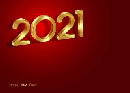 Golden 2021 New Year 3D logo, banner with copy space. Christmas theme, vector illustration. Holiday design for greeting card, invitation, calendar, party, gold luxury vip, isolated on red background