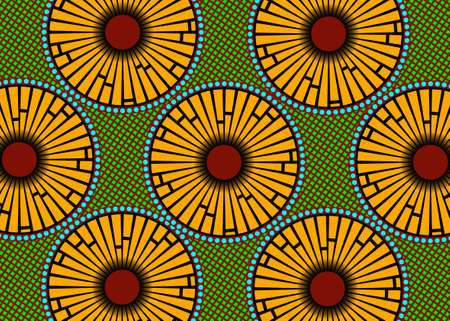 African Wax Print fabric, Ethnic handmade ornament for your design, Afro Ethnic flowers and tribal motifs geometric elements. Vector texture, Africa striped seamless textile Ankara fashion style 版權商用圖片 - 158884555