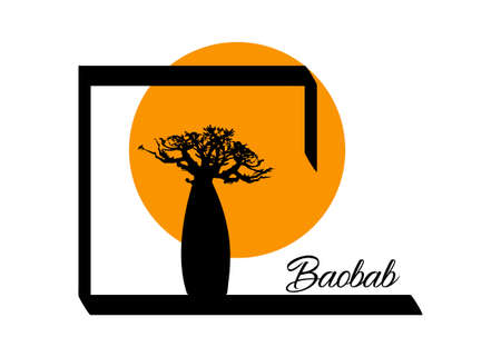 Boab or Baobab Tree Vector isolated, Andasonia tree silhouette logo icon and sunset Safari concept, Baobabs silhouette sign in white background 版權商用圖片 - 158884556