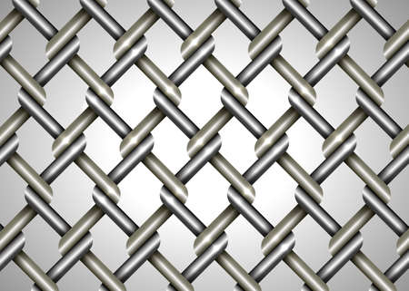 Wire fence vector background, close up metallic chainlink fence texture isolated on gray, intertwining and overlapping of metal threads, chrome steel texture