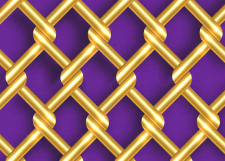 golden metal wire fence template. Gold chains intertwining and overlapping, vector isolated on purple background 向量圖像
