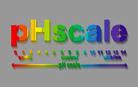 scale of ph value for acid and alkaline solutions, infographic acid-base balance. scale for chemical analysis acid base. vector illustration isolated or gray background 向量圖像