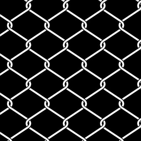 Wire fence vector background, close up metallic chainlink fence texture isolated on black, intertwining and overlapping of metal threads