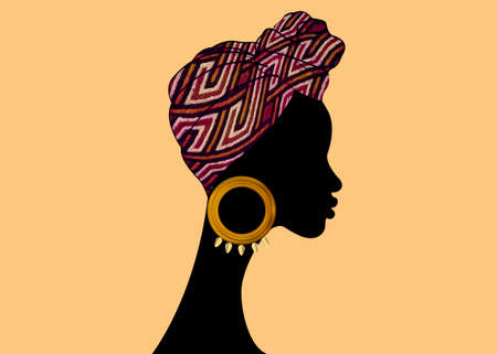 portrait beautiful Afro woman. Shenbolen Ankara Headwrap Women African Traditional Headtie Scarf Turban. Kente head wraps African tribal fabric design. Vector icon logo template brochure background