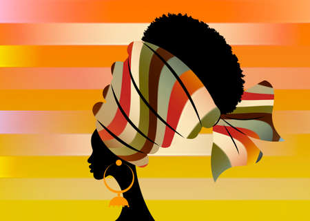portrait beautiful African woman in traditional turban handmade stripes motif, Kente head wrap African with ethnic earrings, black women Afro curly hair vector silhouette isolated on strips background 向量圖像