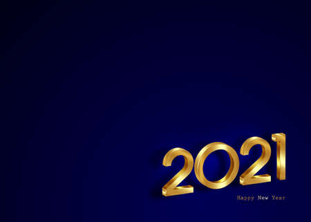 Golden 2021 New Year 3D logo, banner with copy space. Christmas theme, vector illustration. Holiday design for greeting card, invitation, calendar, party, gold luxury vip, isolated on blue background