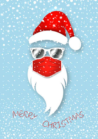 Hipster Santa Claus head wears fashion red surgical mask and white mirrored sunglasses. Merry Christmas Santa logo design coronavirus protection in paper cut style, vector snowy blue background 版權商用圖片 - 159008671