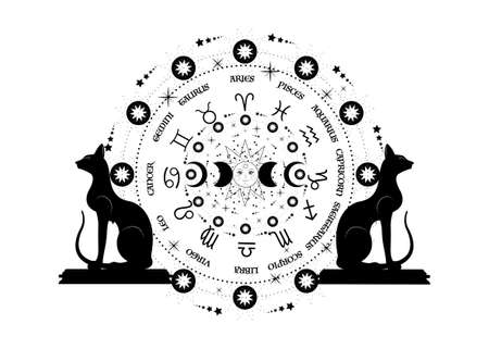 wheel of the zodiac signs Egyptian black cats and triple moon, pagan Wiccan goddess symbol, sun system, moon phases, orbits of planets, energy circle. Vector isolated on white background 版權商用圖片 - 159008672