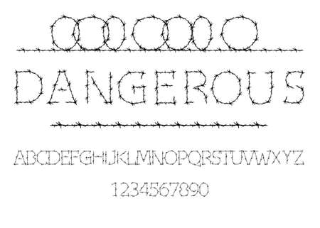 Alphabet of barbed wire. Prison letters and numbers set. Barbed Wire Stroke for Fencing. Font for events, promotions, logos, banner, monogram and poster. Typography design, vector isolated on white 向量圖像