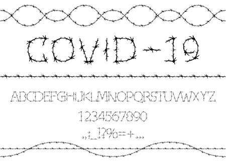 Alphabet of barbed wire. Prison letters and numbers set. Barbed Wire Stroke for Fencing. Font for events, promotions, logos, banner, monogram and poster. Typography design, vector isolated on white 版權商用圖片 - 159115737