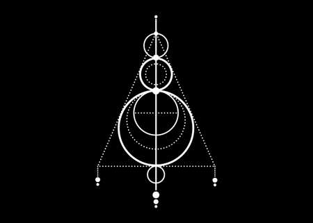 Sigil of Protection. Magical Amulets. Can be used as tattoo, white logos and prints. Magic Alchemy of Sign Occult. Wiccan symbol, sacred geometry, vector isolated on black background 向量圖像