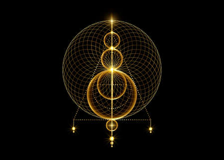 Sigil of Protection. Gold Magical Amulets. Luxury golden logo shiny overlapping circles print. Magic Alchemy of Sign Occult. Wiccan symbol, Sacred Geometry, vector isolated on black background 版權商用圖片 - 159115798