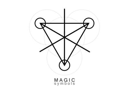 Magic Alchemy symbols, Sacred Geometry. Religion, philosophy, spirituality, occultism concept. Linear black triangle with lines and overlapping circles, print vector logo isolated on white background 版權商用圖片 - 159180226