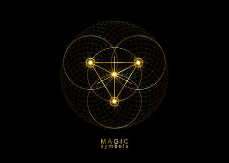 Gold Magic Alchemy symbols, Sacred Geometry. Religion, philosophy, spirituality, occultism concept. Linear triangle with lines and overlapping circles, print vector logo isolated on black background