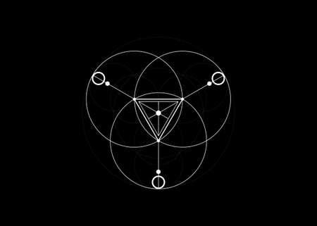 Magic Alchemy symbols, Sacred Geometry. Mandala religion, philosophy, spirituality, occultism concept.