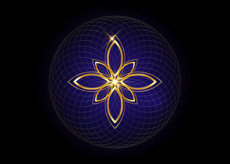 Seed of life symbol Sacred Geometry. Geometric mystic mandala of alchemy esoteric Flower of Life. Gold luxury design overlapping circles, vector blue meditative amulet isolated on black background