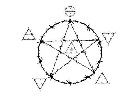 pentagram symbol in barbed wire style. Magic signs that use the witchery and five elements: Spirit, Air, Earth, Fire and Water icons divinatory. Wicca divination occult pictograph, vector isolated