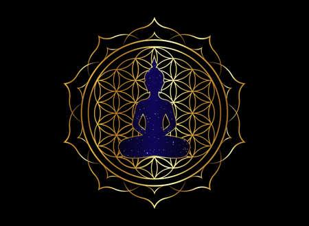 Chakra concept. Inner love, light and peace. Buddha silhouette in lotus position over gold ornate mandala lotus flower. Flower of Life, golden Yantra Mandala vector isolated on black background