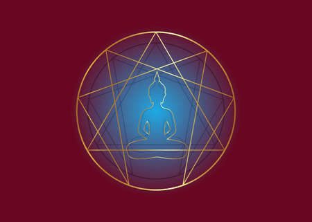 Enneagram yoga gold icon design for infographics and business. lotus position, golden sacred geometry, with a meditating buddha silhouette in the middle, vector illustration isolated on red background