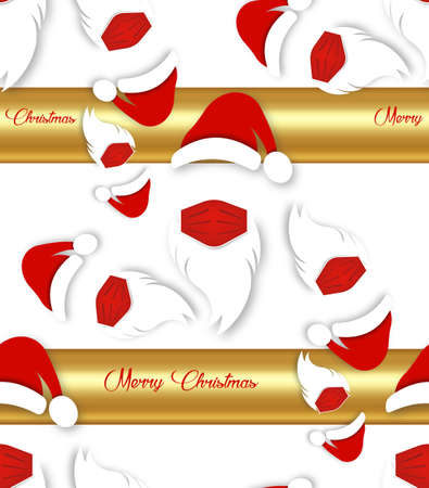Santa Claus wears surgical mask with red hat and white beard, coronavirus protection concept, seamless texture pattern, Merry Christmas paper cartoon isolated on white and gold background 版權商用圖片 - 159308855