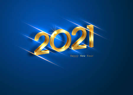 Golden 2021 New Year 3D logo with copy space. Christmas theme, vector illustration. Holiday design for greeting card, invitation, calendar, party, gold luxury vip, isolated on blue background