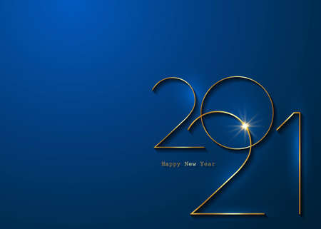 Golden 2021 New Year logo with copy space. Christmas theme, vector banner illustration. Holiday design for greeting card, invitation, calendar, party, gold luxury vip, isolated on blue background 版權商用圖片 - 159375987