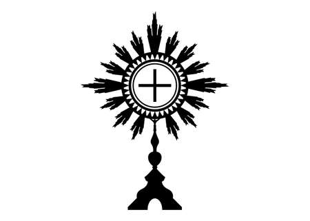 Monstrance. Ostensorium used in Roman Catholic, Old Catholic and Anglican ceremony traditions. Benediction of the Blessed Sacrament is used to displayed to Eucharistic host. Vector isolated on white