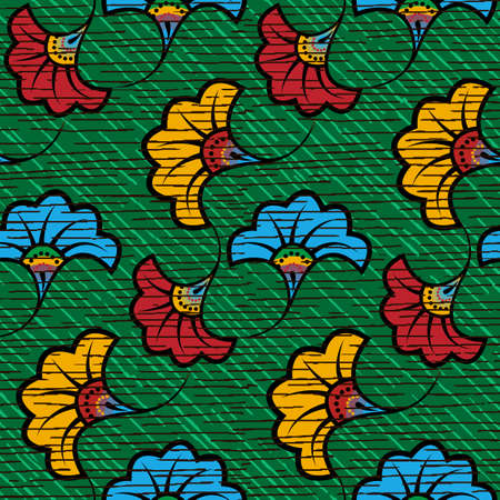 African Wax Print fabric, Ethnic handmade ornament seamless design, tribal pattern motifs floral elements. Vector texture, afro colorful textile Ankara fashion style. Pareo wrap dress wedding flowers 版權商用圖片 - 159436473