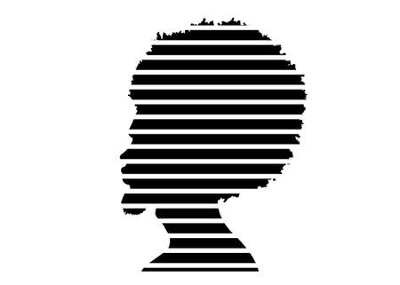 black man portrait with afro curly design, Barber shop and hairstyle. Healthy sporty young black man silhouette with beard. Vector isolated avatar of rapper on white background in stripes pattern 向量圖像