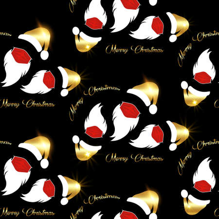Santa Claus wears red surgical mask with gold hat and white beard, coronavirus protection concept, seamless texture pattern, golden Merry Christmas paper cartoon isolated on black background