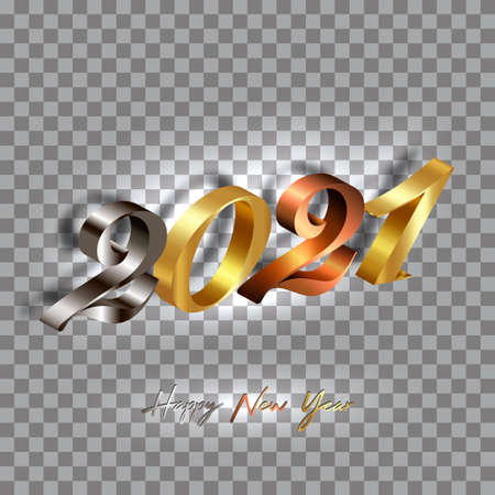 2021 golden, bronze and silver numbers New Year 3D logo for Holiday greeting card. Vector illustration isolated on transparent background for banner, invitation, calendar, party, gold luxury vip card