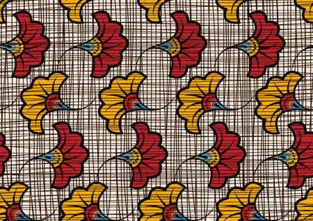 African Wax Print fabric, Ethnic handmade ornament seamless design, tribal pattern motifs floral elements. Vector texture, afro colorful textile Ankara fashion style. Pareo wrap dress wedding flowers 版權商用圖片 - 159437803