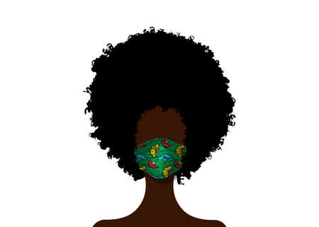African woman with Afro curly hair wears fashion surgical mask in Africa Wax fabric pattern. Safety mask, dust protection respirator and breathing medical respiratory mask. Coronavirus pandemic vector 向量圖像