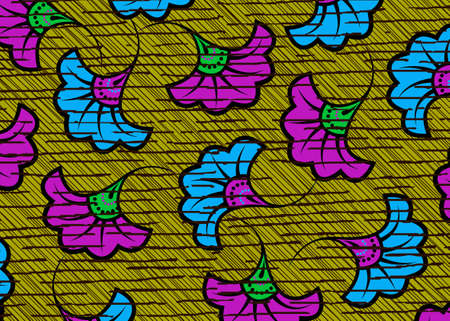 African Wax Print fabric, Ethnic handmade ornament flower design, tribal pattern motifs floral elements. Vector texture, afro colorful textile Ankara fashion style. Pareo wrap dress wedding flowers 向量圖像
