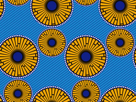 African Wax Print fabric, Ethnic handmade ornament seamless design, Afro Ethnic flowers and tribal motifs geometric elements. Vector texture, Africa striped in blue color textile Ankara fashion style 版權商用圖片 - 159508061
