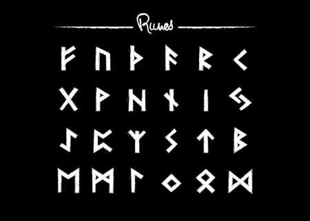 Viking runes, elder futhark alphabet. Retro norse Scandinavian runes. Sketch celtic ancient letters. Old hieroglyphic occult set icons. Medieval viking symbols. Vector isolated on black background 版權商用圖片 - 159492760