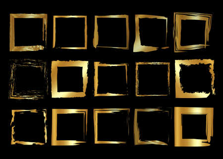 Gold frames set, Christmas theme square shaped old golden border in paint brush stroke style, vector luxury collection ornament with shadow isolated on black background 向量圖像