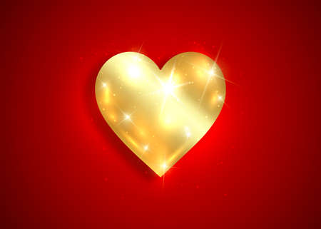 shiny gold heart logo 3D icon, Valentine's Day background with golden luxury heart design, jewelery concept, love sign vector isolated on dark red background