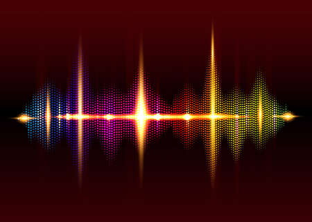 sound wave rhythm background. Spectrum color digital Sound Wave equalizer, technology and earthquake wave concept, design for music industry. Glow Light Dot lines style Vector isolated on black 版權商用圖片 - 159537032