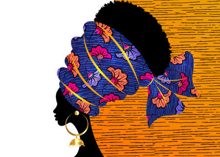 portrait beautiful African woman in traditional turban handmade tribal motif wedding flowers, Kente head wrap African with ethnic gold earrings, black women Afro curly hair, vector template brochure