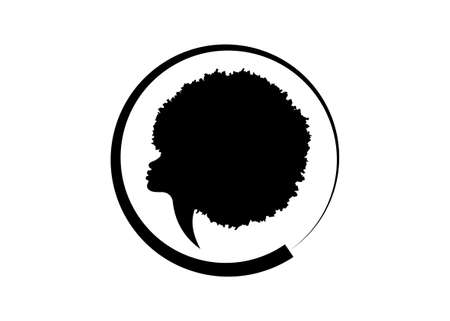 African American woman face profile. Round logo women profile silhouette with fashion curly afro hair style concept, Afro sign vector isolated on the white background 版權商用圖片 - 159537044