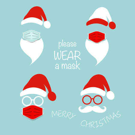 Santa Claus head label wear surgical mask set icons, hat, beard, mustache and round glasses. Merry Christmas Santa Claus  design coronavirus protection, covid-19 vector isolated on blue background