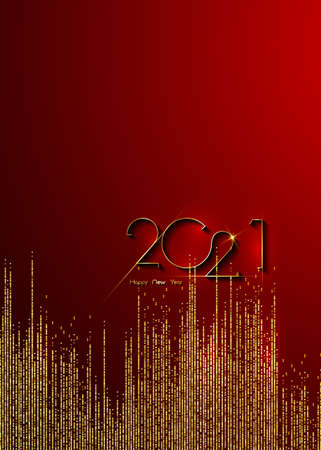 Golden 2021 New Year banner with copy space. Christmas theme, vector illustration. Holiday design for greeting card, invitation, calendar, party, gold glitter luxury vip, isolated on red background