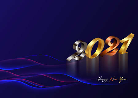 2021 golden, bronze and silver numbers. Happy New Year 3D logo for Holiday greeting card. Vector illustration isolated on blue wavy background for banner, invitation, calendar, party, luxury vip icon