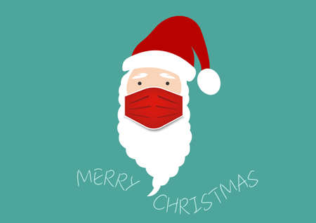 Santa Claus head label with surgical mask, hat and white beard. Merry Christmas Santa Claus cartoon design coronavirus protection, red medical mask vector isolated on green background 向量圖像