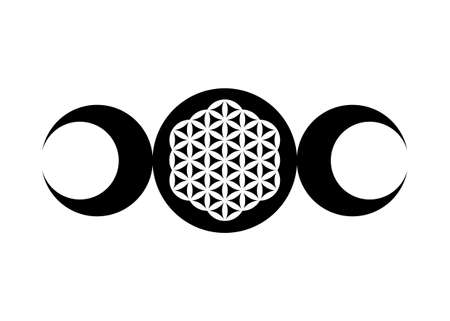 Triple Moon Religious wiccan sign. Wicca logo Neopaganism symbol, Triple Goddess and Flower of Life icon tattoo, Sacred Geometry mandala of harmony and balance, vector isolated on white background 向量圖像