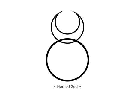 Horned God Wiccan icon. God of nature, wilderness, sexuality, hunting. Wicca deities Symbol consort Triple Goddess, moon horned taurus sign vector isolated on white background