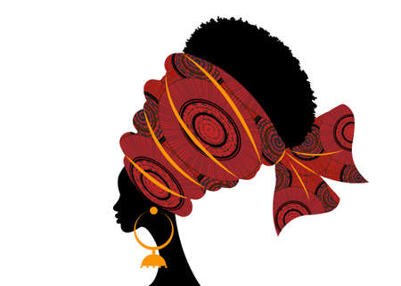 portrait beautiful African woman in traditional turban handmade tribal motif, Kente head wrap African with ethnic earrings, black women Afro curly hair, vector silhouette isolated on white background