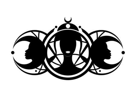 Triple goddess, beautiful women, symbol of moon phases. Hekate, mythology, Wicca, witchcraft. Triple Moon Religious Wiccan sign. Neopaganism symbol logo. Crescent, half, and full moon vector isolated 向量圖像